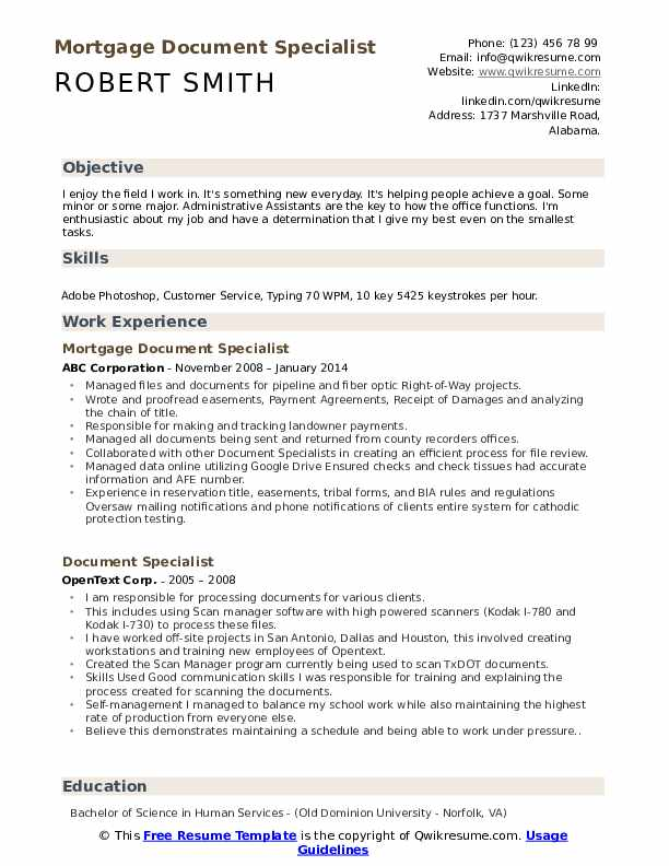 Mortgage Document Specialist Resume Format
