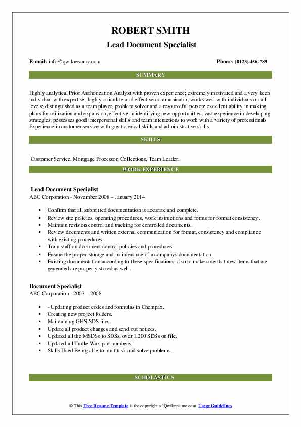 Insurance Authorization Specialist Resume Template
