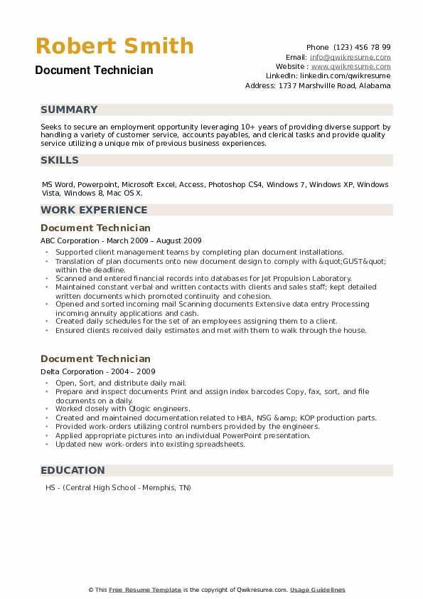 Document Technician Resume example