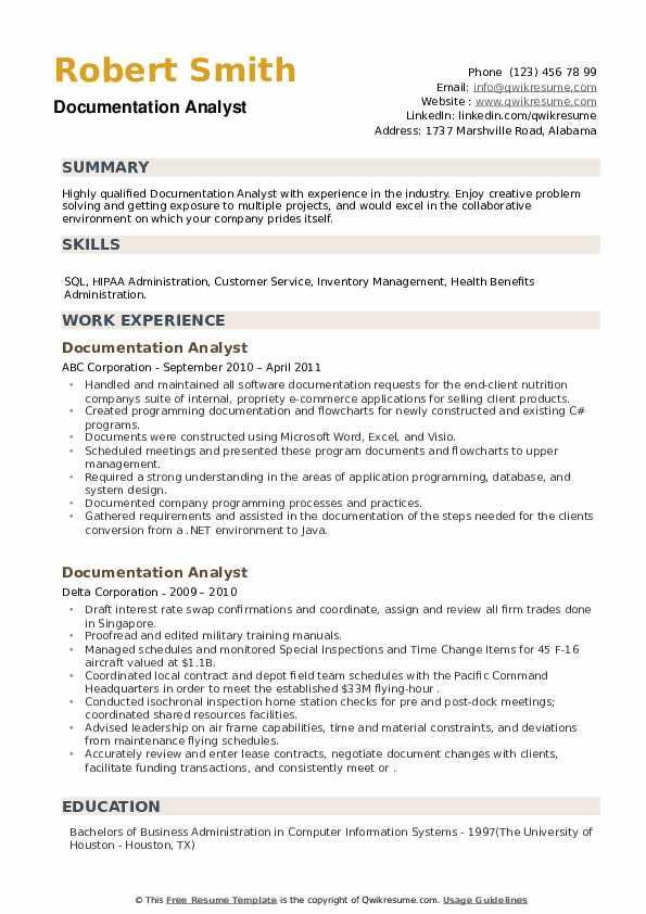 Documentation Analyst Resume example