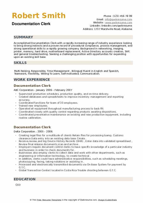 Documentation Clerk Resume example