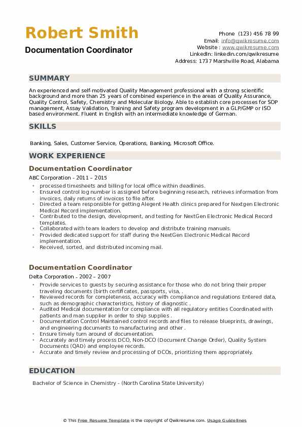 Documentation Coordinator Resume example