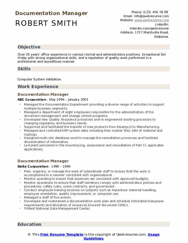 Documentation Manager Resume example