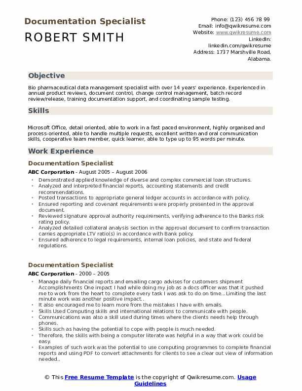 documentation specialist resume samples
