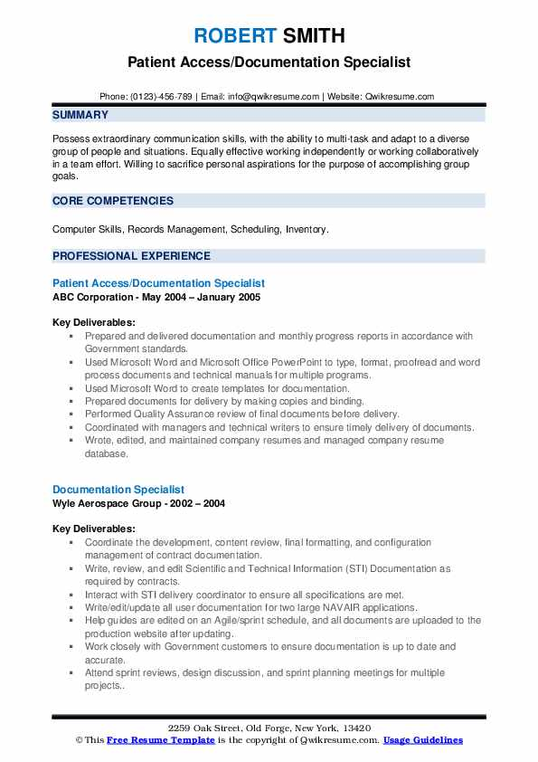 Patient Access/Documentation Specialist Resume Model