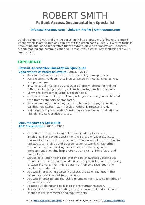 Documentation Specialist Resume Samples Qwikresume