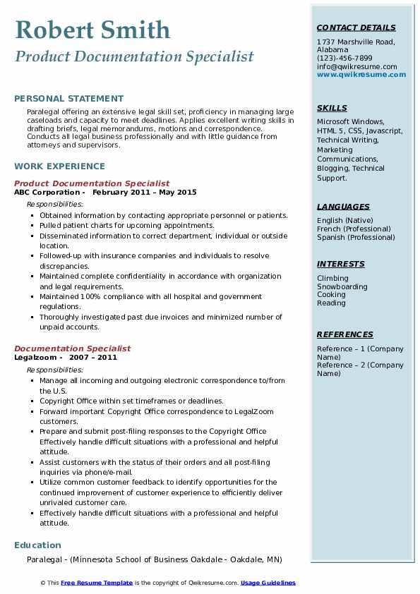 Product Documentation Specialist Resume Template