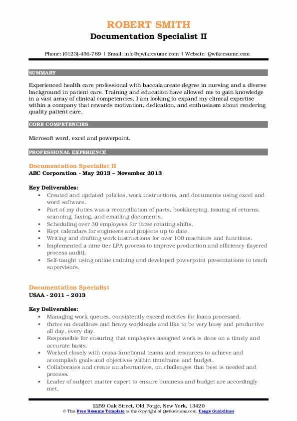 Documentation Specialist II Resume Sample
