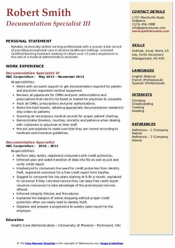 Documentation Specialist III Resume Template