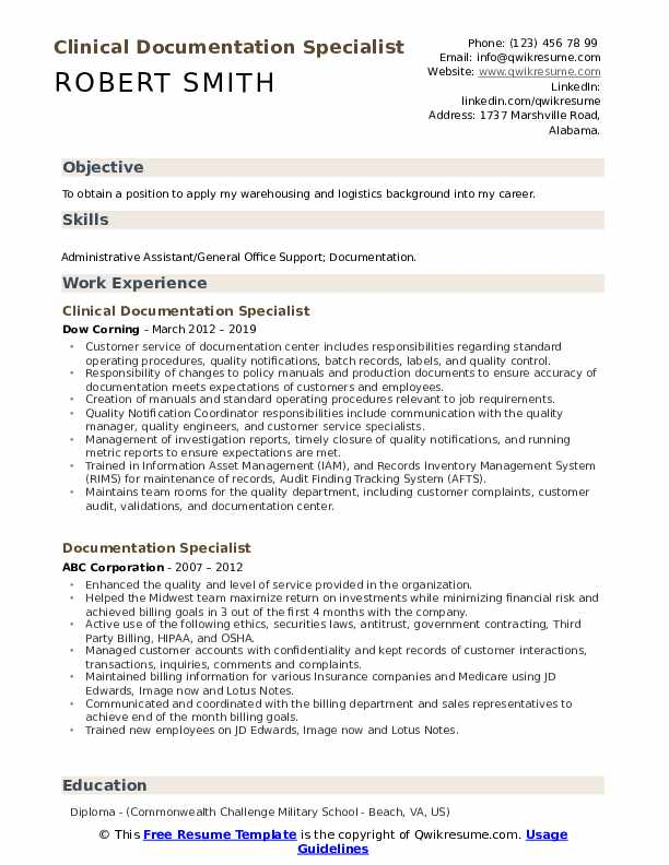 Clinical Documentation Specialist Resume Model