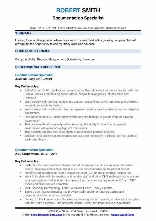 documentation specialist resume samples