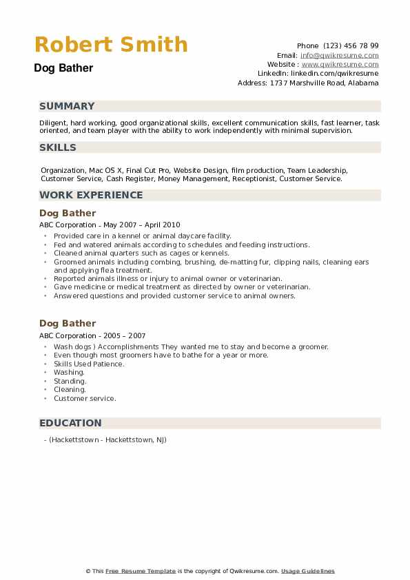 Dog Bather Resume example