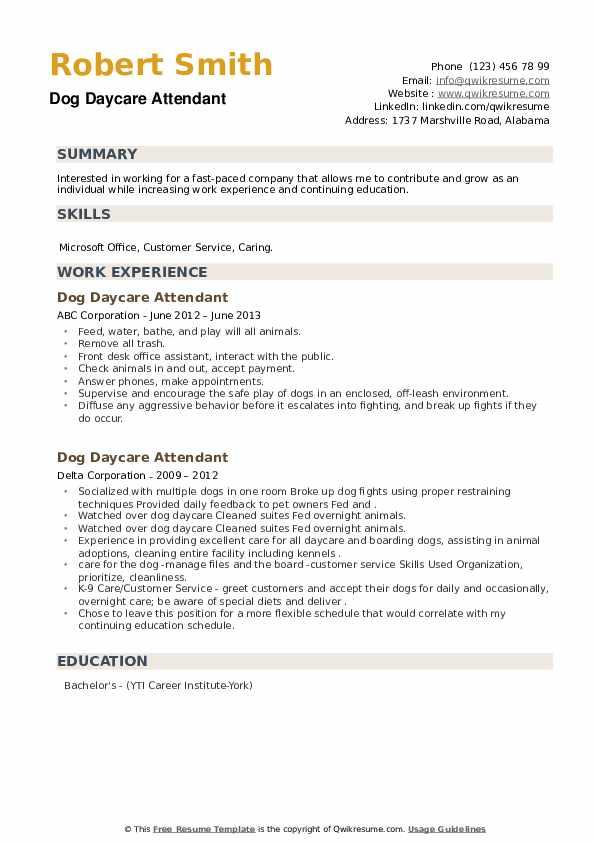 Dog Daycare Attendant Resume example