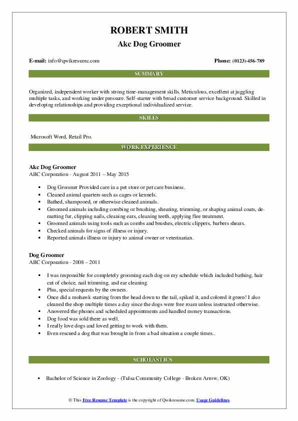 Akc Dog Groomer Resume Template