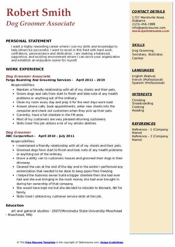 Pet Grooming Resume Summary July 2020