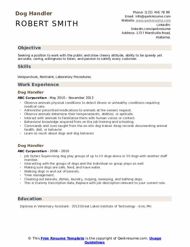 Dog Handler Resume example