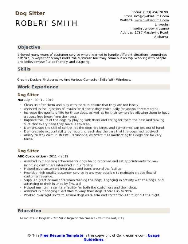 Dog Sitter Resume Format