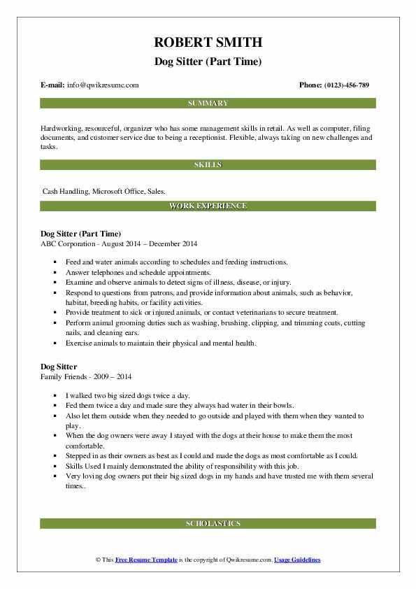 Dog Sitter (Part Time) Resume Sample