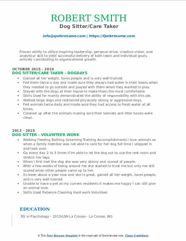 Dog Sitter/Care Taker Resume Example
