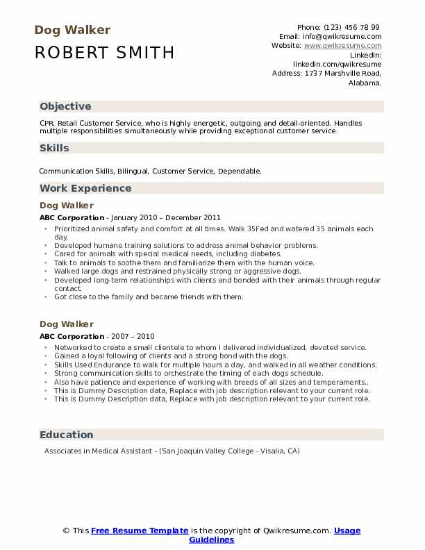 Dog Walker Resume example