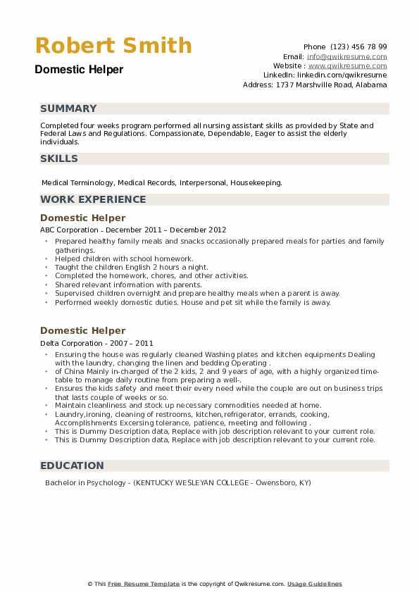 Domestic Helper Resume example