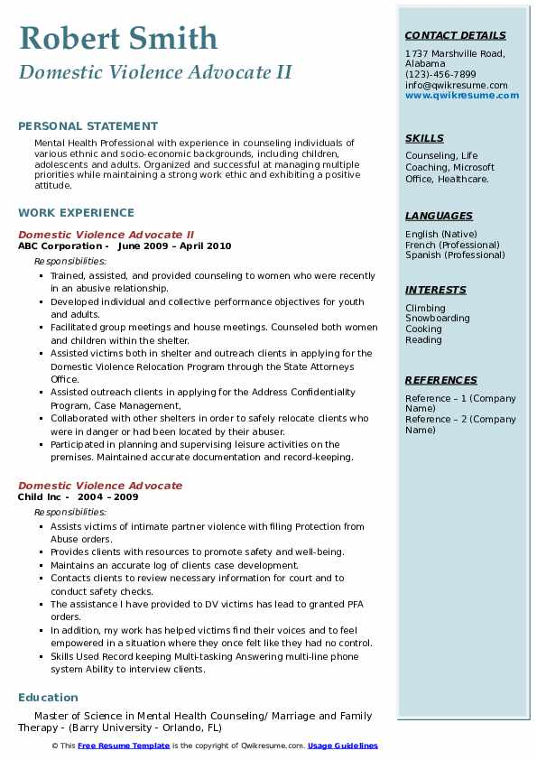 Domestic Violence Advocate II Resume Model