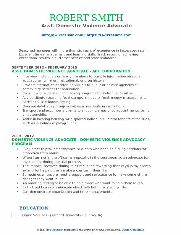 Asst. Domestic Violence Advocate Resume Sample
