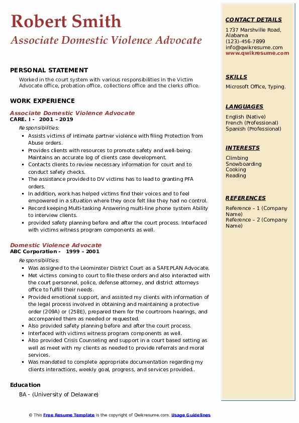 Associate Domestic Violence Advocate Resume Template