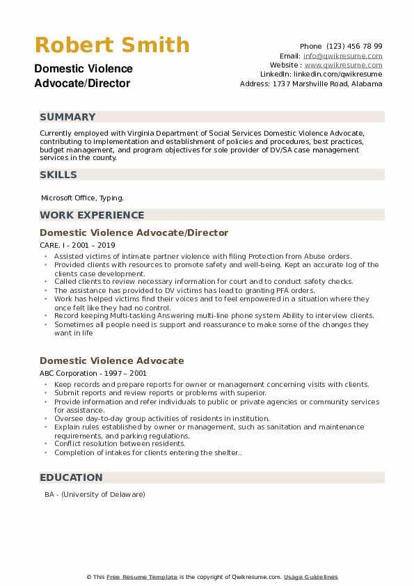 Domestic Violence Advocate/Director Resume Model