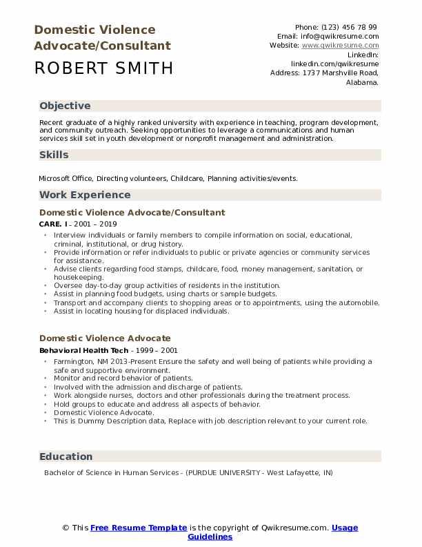Domestic Violence Advocate/Consultant Resume Model