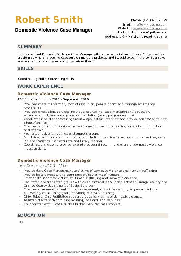 Domestic Violence Case Manager Resume example