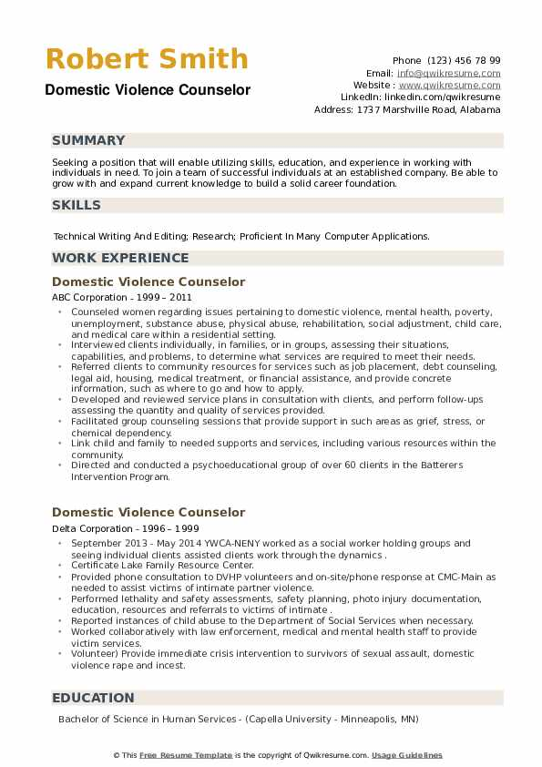 Domestic Violence Counselor Resume example