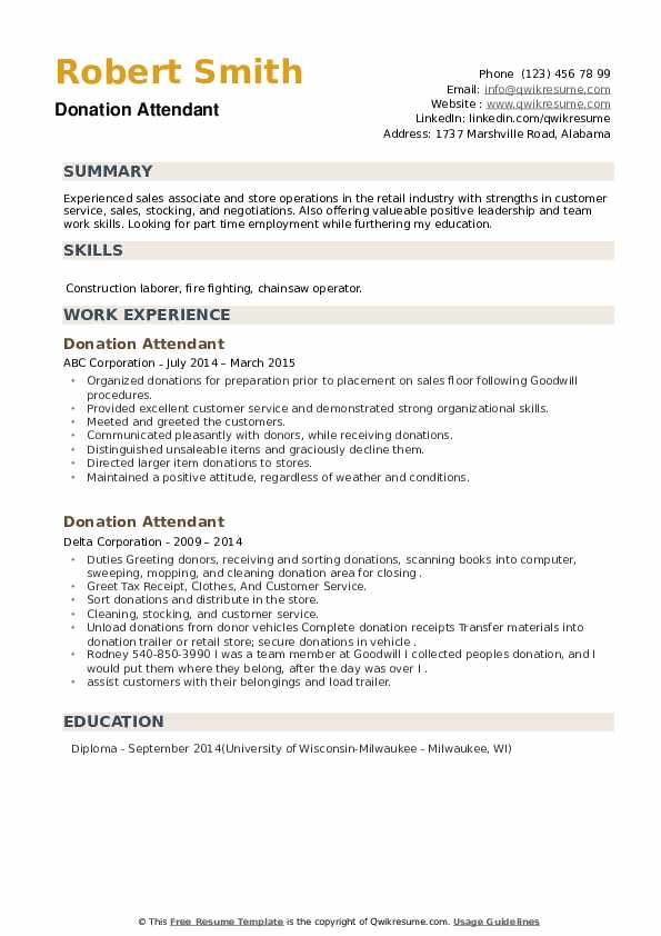 Donation Attendant Resume example