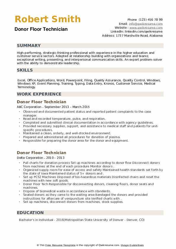 Donor Floor Technician Resume example