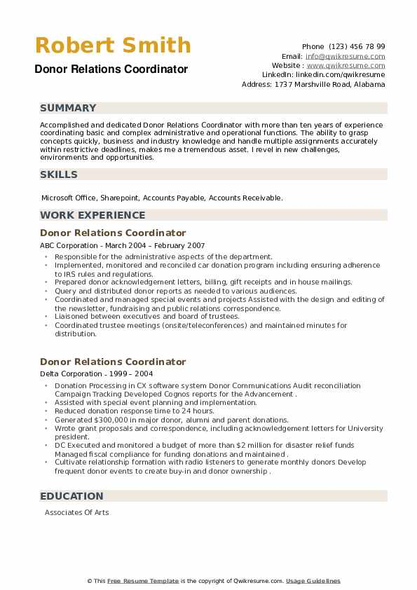Donor Relations Coordinator Resume example