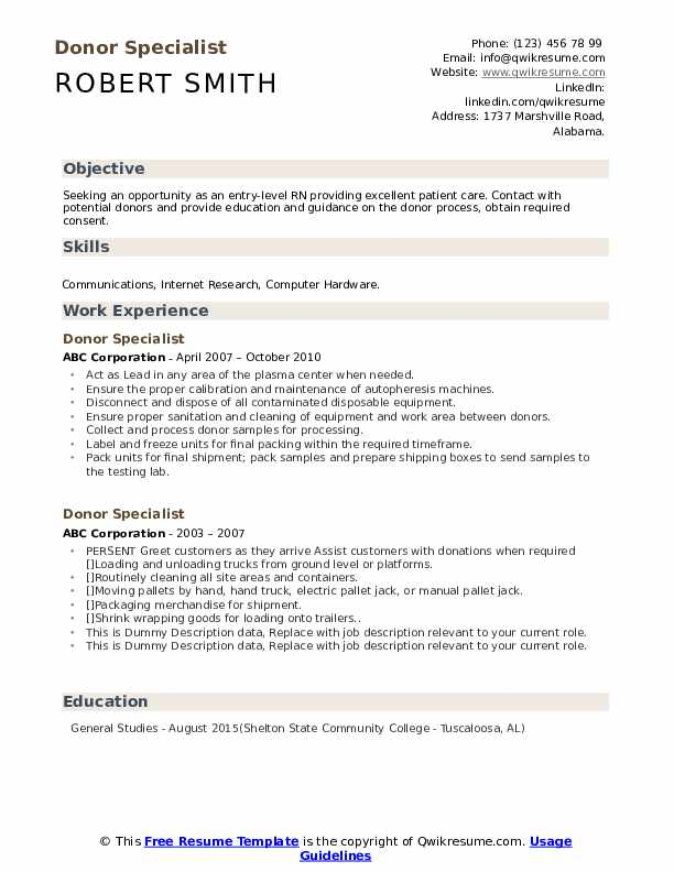 Donor Specialist Resume example