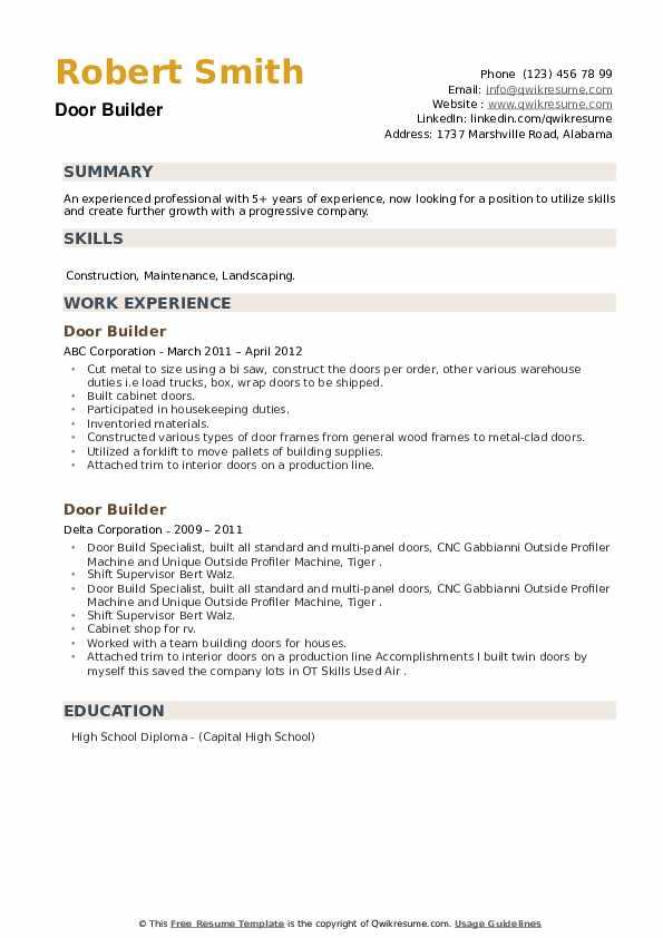 Door Builder Resume example