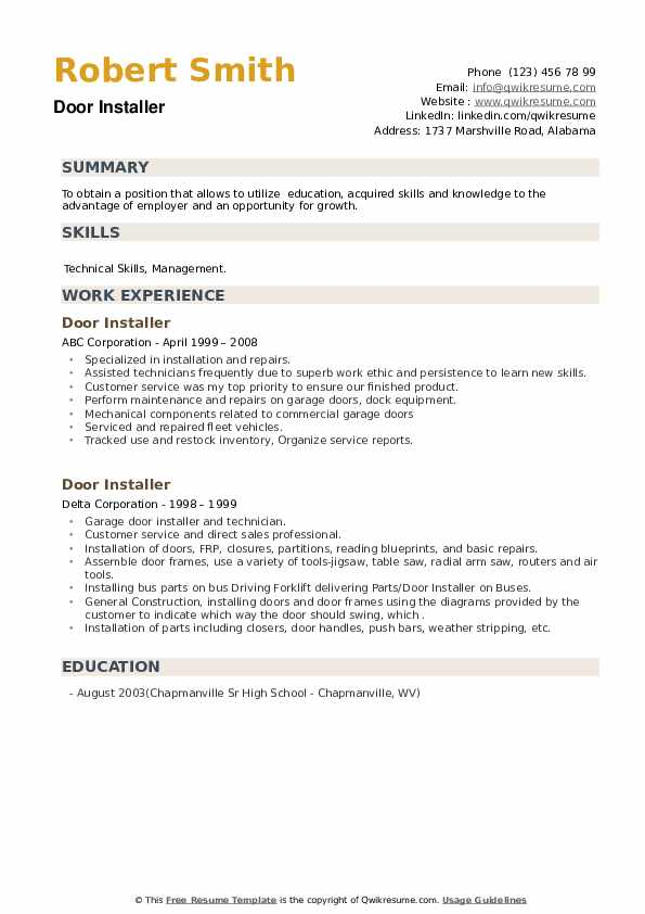 Door Installer Resume example