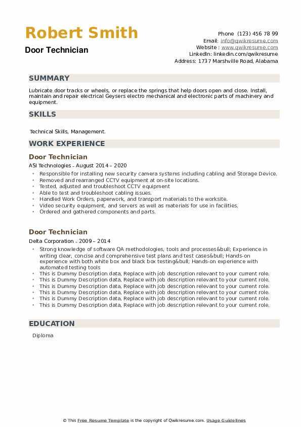 Door Technician Resume example