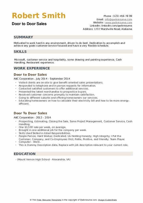 Door To Door Sales Resume example