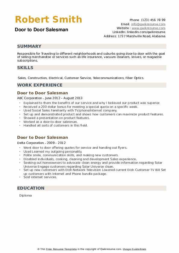 Door to Door Salesman Resume example