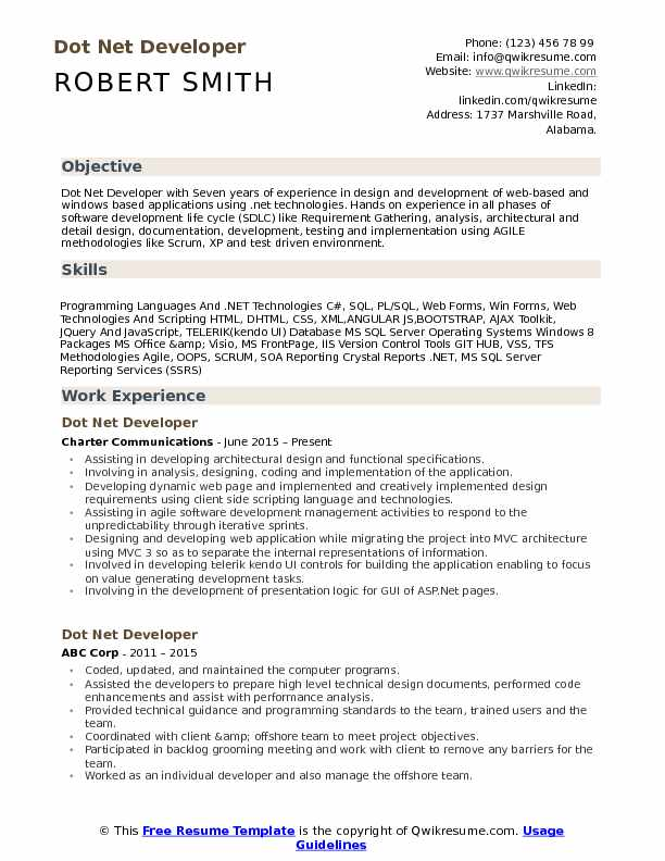 Dot Net Developer Resume Sample