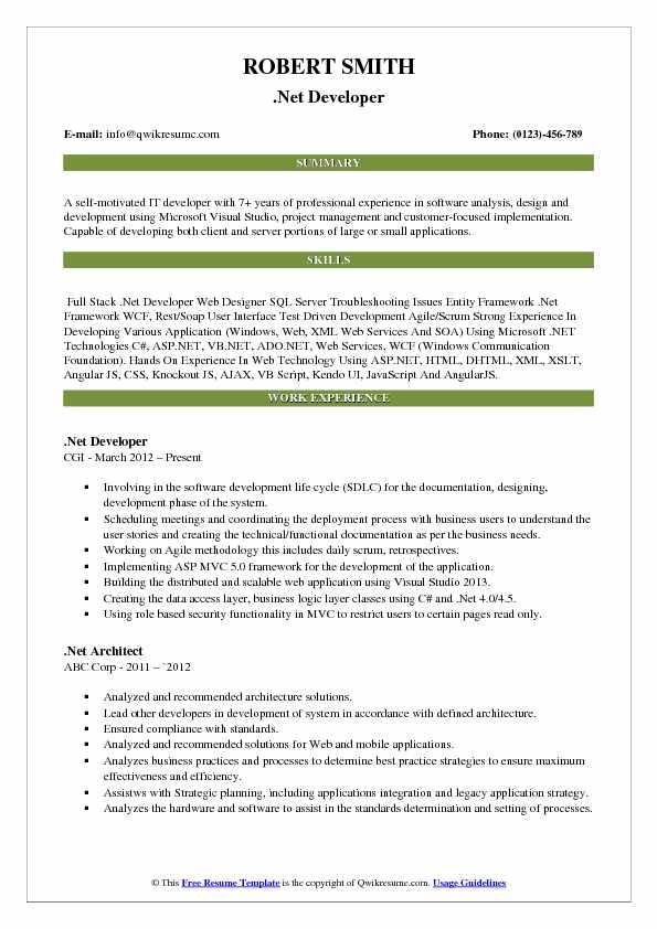 Dot Net Developer Resume Samples | QwikResume