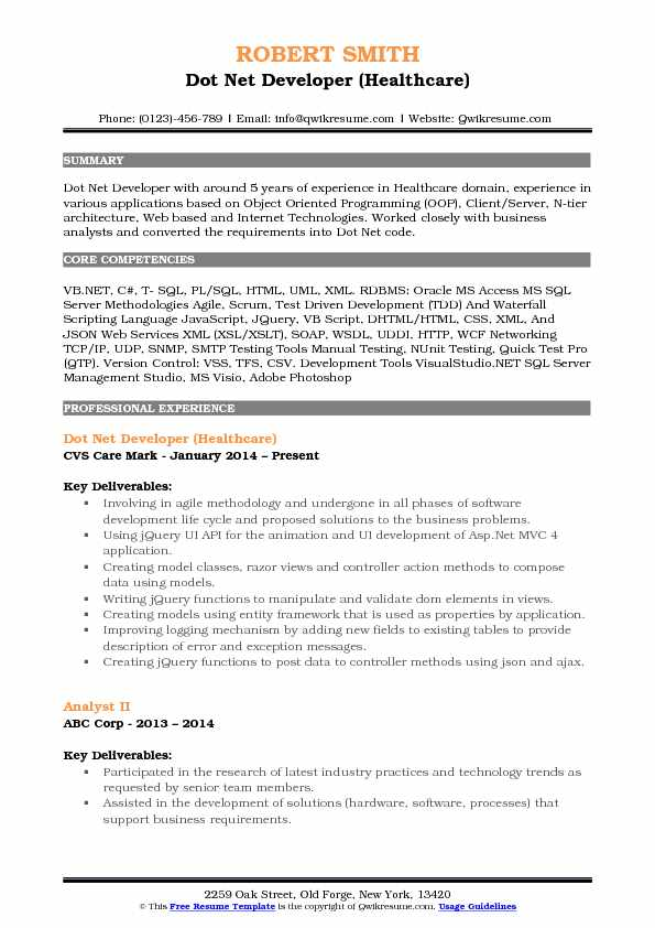 Dot Net Developer (Healthcare) Resume Format