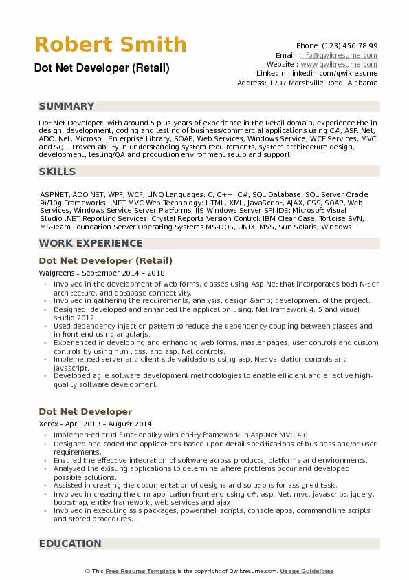 Dot Net Developer (Retail) Resume Format