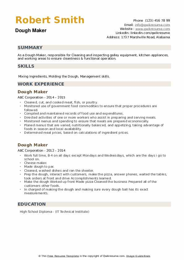 Dough Maker Resume example