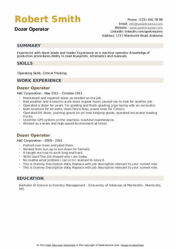 Dozer Operator Resume example