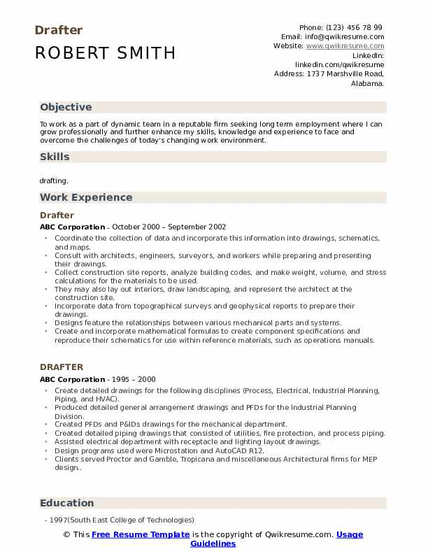 Drafter Resume Samples Qwikresume