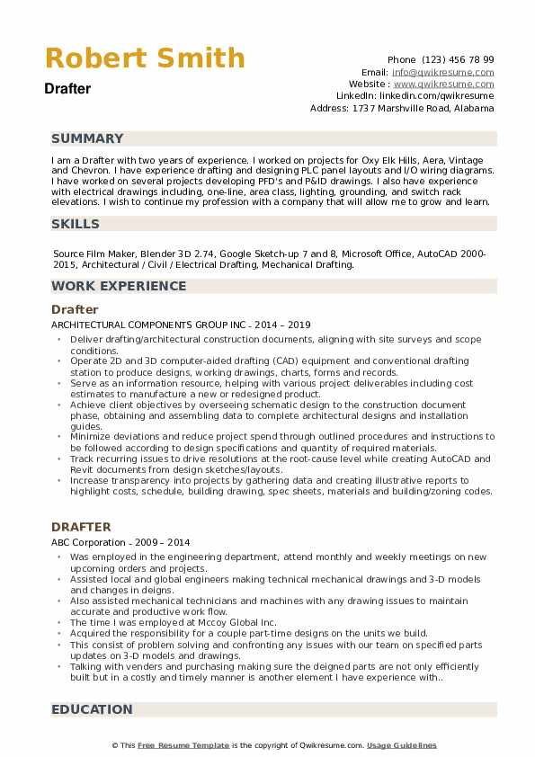 Drafter Resume Samples | QwikResume