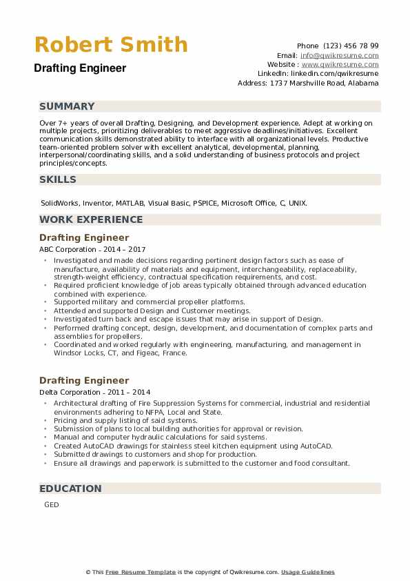 Drafting Engineer Resume example